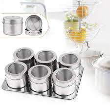 popular spice canister set buy cheap spice canister set lots from hot sale 6pcs magnetic spices jar storage set stainless steel condiments canister sauce bottle seasoning containers