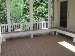 built in bench seating in screen porch screened porches