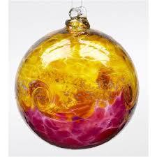 glow blown glass ornament gold pink glass