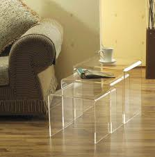 square acrylic lucite coffee table for small living room spaces