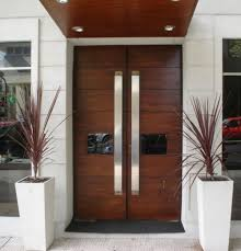 double modern wood front doors double and single with a side