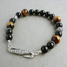 sterling silver black onyx bracelet images Tiger eye and black onyx mens bracelet with bali jpg