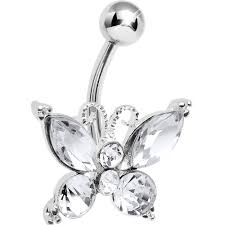 clear elegance bling butterfly belly button ring bodycandy