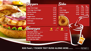 digital menu boards create publish display with signagelive