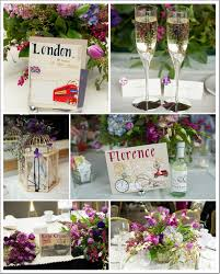 travel themed table decorations classic purple wedding travel themes table decorations and florals