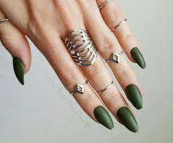 olive military army green fake nails press on nails matte