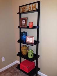 Wall Shelves Walmart Mainstays Leaning Ladder 5 Shelf Bookcase Espresso Walmart Com