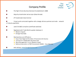 sample of company profile template examples