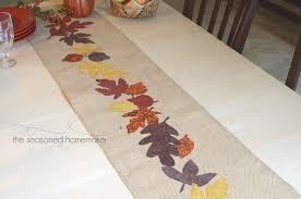 Leaf Table Runner Burlap Thanksgiving Table Runner