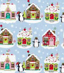 christmas cotton fabric penguins u0026 gingerbread houses joann
