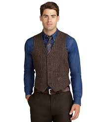 this five button vest is made from harris tweed hand woven in the