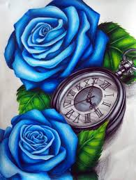 clocks and rose tattoos drawing photos pictures and sketches