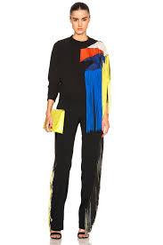 black fringe sweater lyst christopher fringe sweater in black