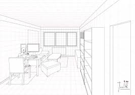 a ongoing living room drawing in one point perspective update 03
