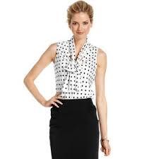 sleeveless tie neck blouse nine top sleeveless polka dot print tie neck blouse polyvore