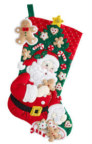 santa u0027s snack time is a new release bucilla felt stocking kit
