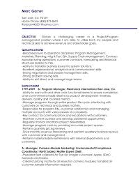 Executive Resume Objective Examples by Program Manager Resume Objective The Letter Sample