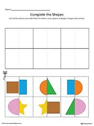 match shapes cut and paste rectangle star square triangle