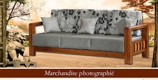 canape en bois canapé en tissu 3 places gris avec support en bois