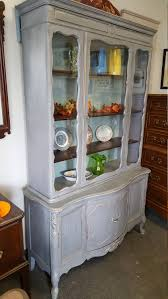 Antique Breakfront China Cabinet by Vintage Shabby Chic French Provincial Hutch Pantry China Cabinet