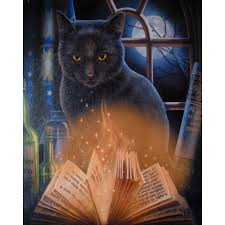 bewitched black cat canvas print lisa parker pagan art