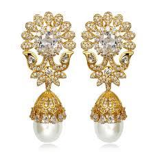 Buy Designer Gold Plated Golden Luxury Gold Plated Flower Simulated Pearl Earrings For Women White