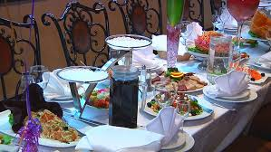 Dining Table With Food Panning Of Place Setting At Wedding Reception Food And