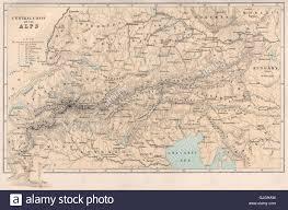 Italy France Map by The Alps Europe Switzerland Italy France Austria Bartholomew