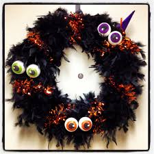 halloween wreath straw wreath wrapped in feather boa pieces