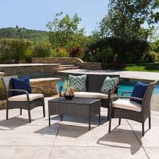 cordoba outdoor wicker 4 piece conversation set with cushions