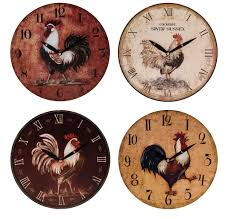 vintage retro cockerel design plastic kitchen wall clock clocks