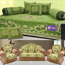 Green Chenille Sofa The Intellect Bazaar 450 Tc Chenille Sofa Cover And Diwan Set