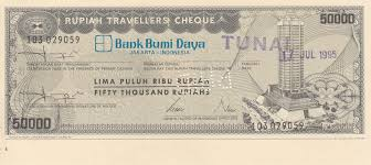 Indonesia travelers check 50000 rupees 1995 year banknotes