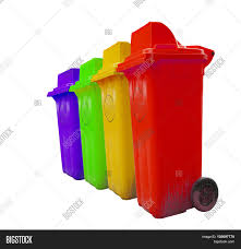bin types of rubbish separated by its color rubbish bin green