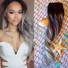 silver hair extensions ombre hair extensions set balayage hair extensions
