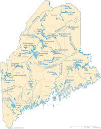maine map with cities map of maine lakes streams and rivers
