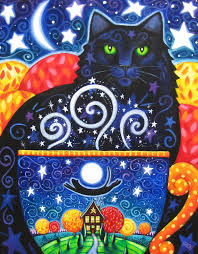 picture of halloween cats autumn magic by brenna white colorful black cat coffee by