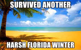 Florida Winter Meme - survived another harsh florida winter beach scene meme generator