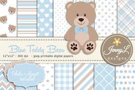 blue teddy bear digital paper patterns creative market