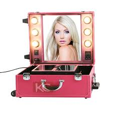 rolling makeup case with lighted mirror multifunction rolling makeup case pvc lighted makeup train case