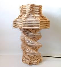 popsicle stick table lamp tramp folk art light rustic wooden