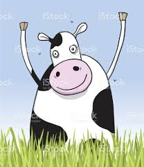 happy cow in the field character illustration stock vector art