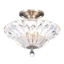 Crystal Flush Mount Ceiling Light Fixture by Dale Tiffany Meridith 3 Light Polished Chrome Crystal Semi Flush