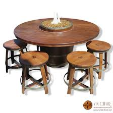 Wine Barrel Fire Pit Table by Zin Firepit U0026 4 Zin Bar Stools Dark Walnut Wine Barrel