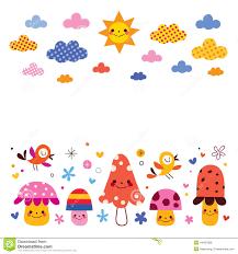 mushrooms birds clouds sun kids background illustration stock