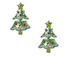 glittery christmas tree front and back earrings claire u0027s