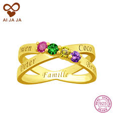 online get cheap custom engraving ring women aliexpress aijaja pure sterling silver rings with gold color personalized birthstones name engraved