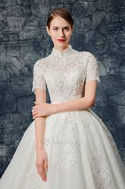 high collar short sleeves lace applique wedding gown