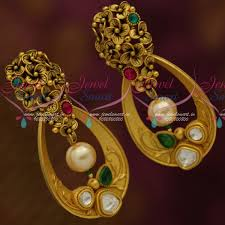 trendy gold earrings er11438 gold look trendy fusion jewellery floral oval earrings