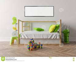 empty children u0027s room with a wooden cot and a white wall in the